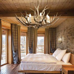 lustre plafond bois de cerf