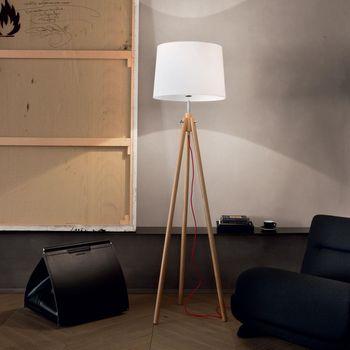 lampadaire blanc bois scandinave