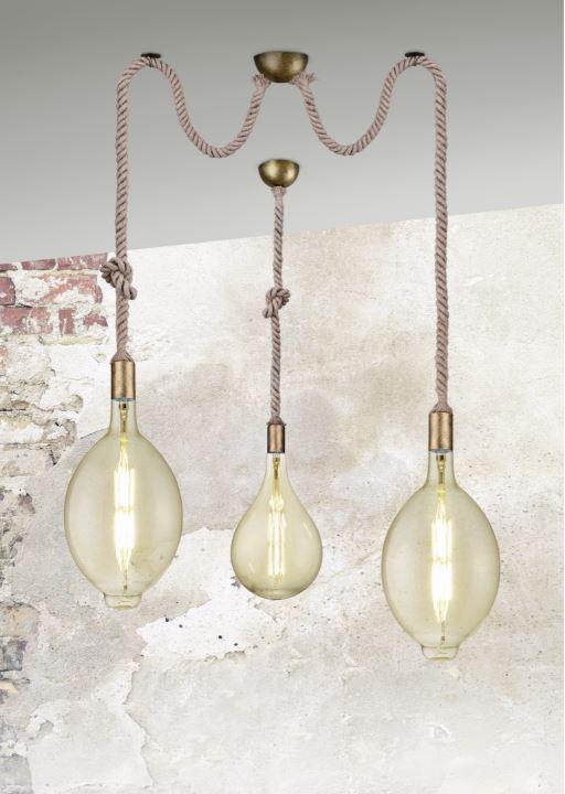 suspension ampoule avec corde trio rope