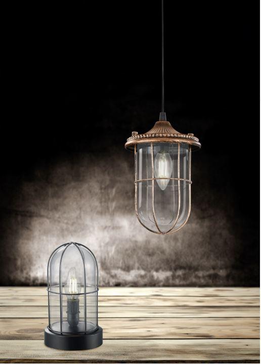 éclairage suspension ampoule avec grille birte trio