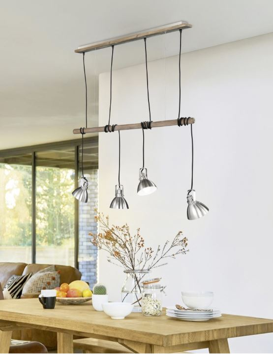 suspension table 4 lampes timber trio