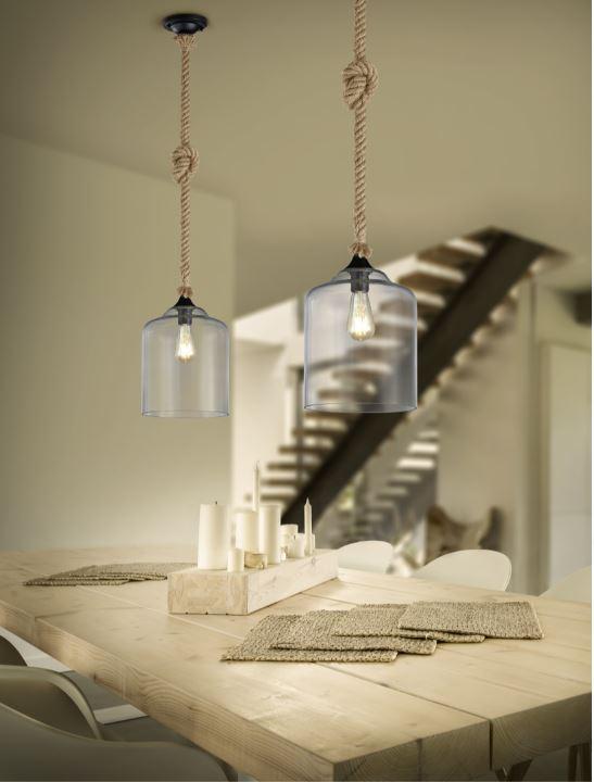 suspension une ampoule avec verre trio
