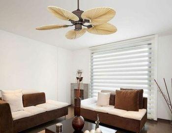 Ventilateur de Plafond Royal Classic Style Colonial avec des véritables feuilles de palmier